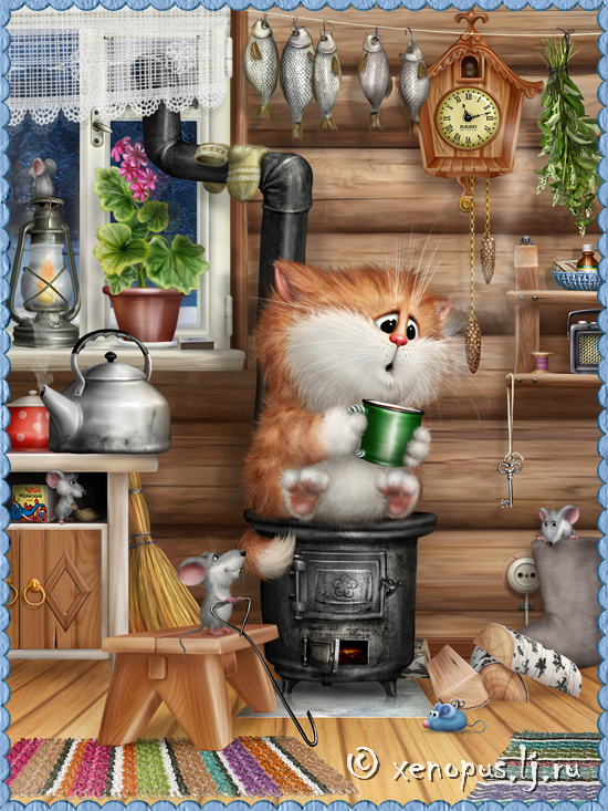 Коты для хорошего настроения Prikolnyie-risunki-kotov-kot-v-izbe