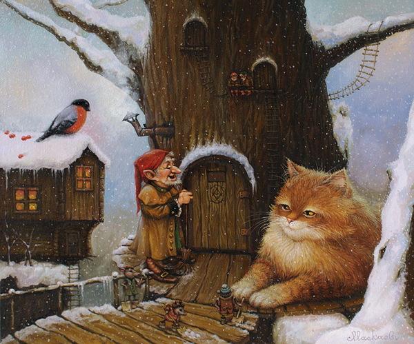 сказочные коты_Маскаев_Выпал снег