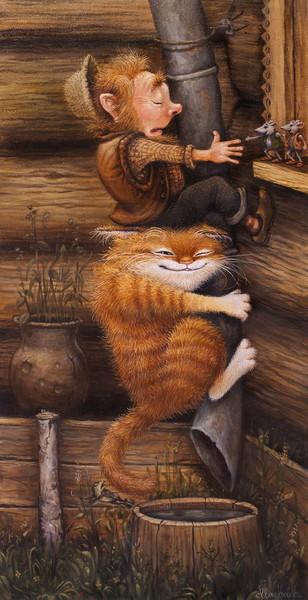 сказочные коты_Маскаев_я ж говорил, что лезть надо через печную трубу...
